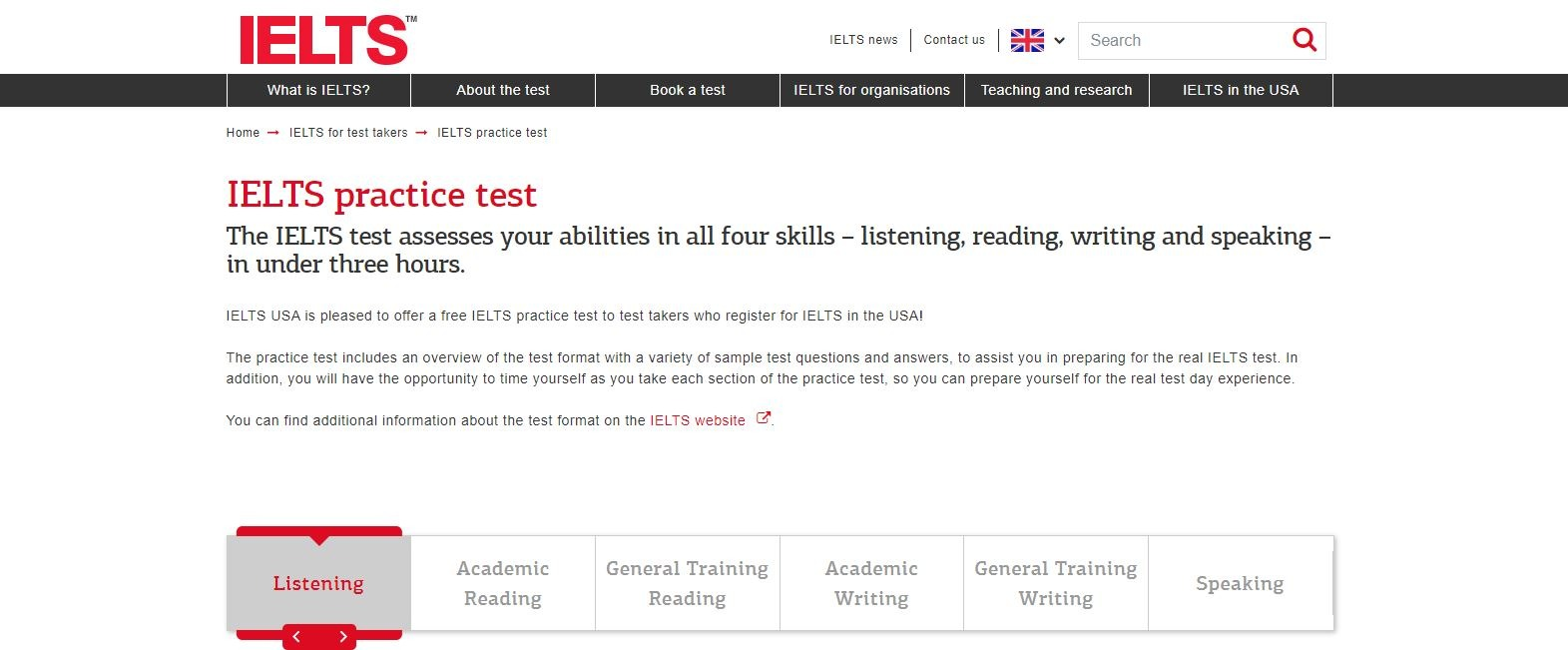 The IELTS test assesses your abilities in all four skills با آزمون آنلاین رایگان آیلتس