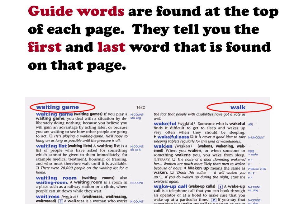 بخش مربوطه را با حرف اول کلمه در دیکشنری پیدا کنید: