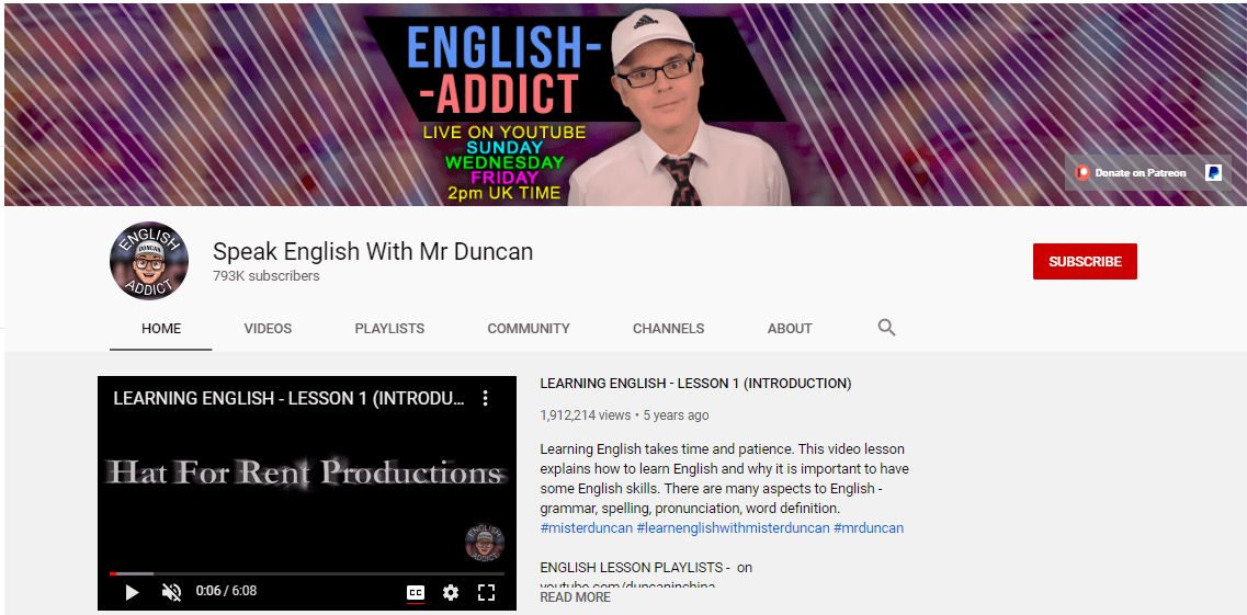 کانال های آموزش زبان انگلیسی در یوتیوب Learn English with Misterduncan