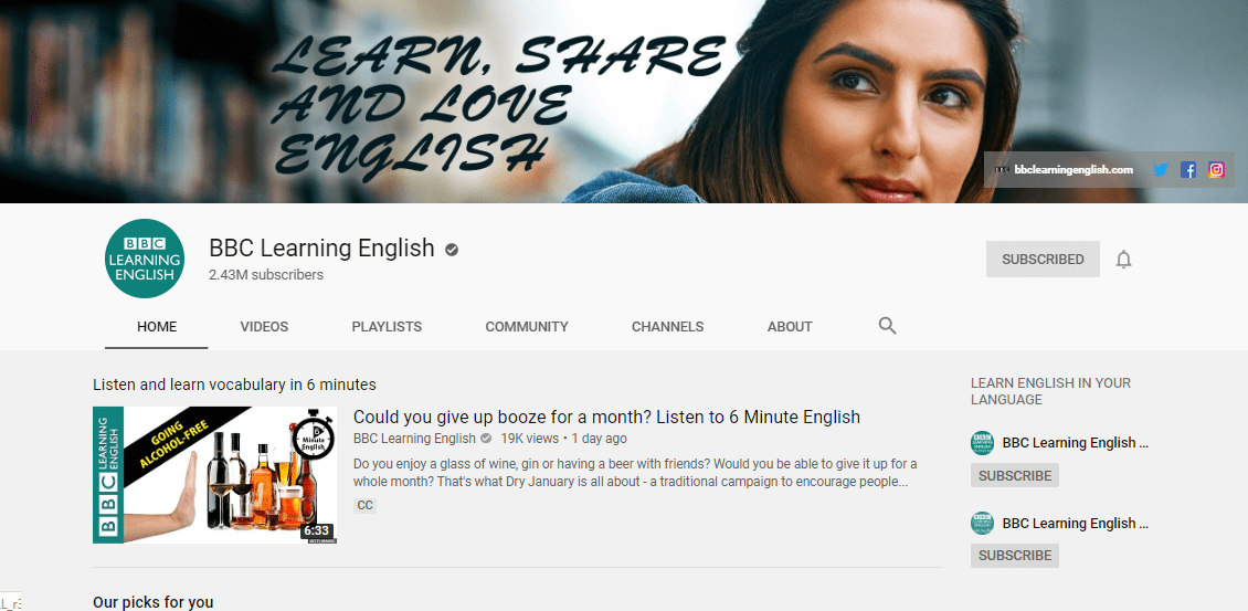 آموزش زبان انگلیسی با یوتیوب و کانال bbc
