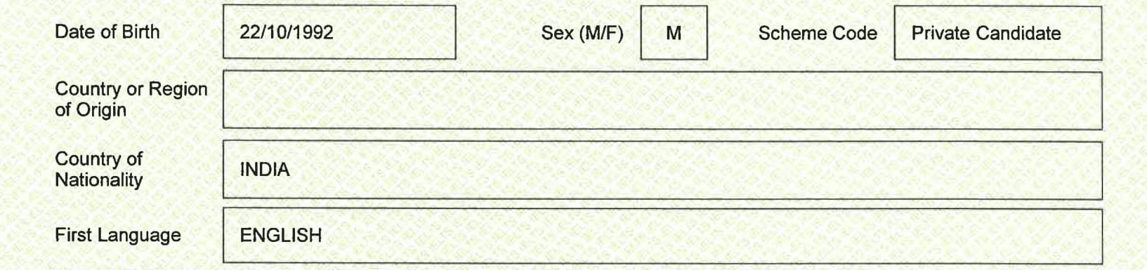 بخش اطلاعات تکمیلی داوطلب در کارنامه ielts