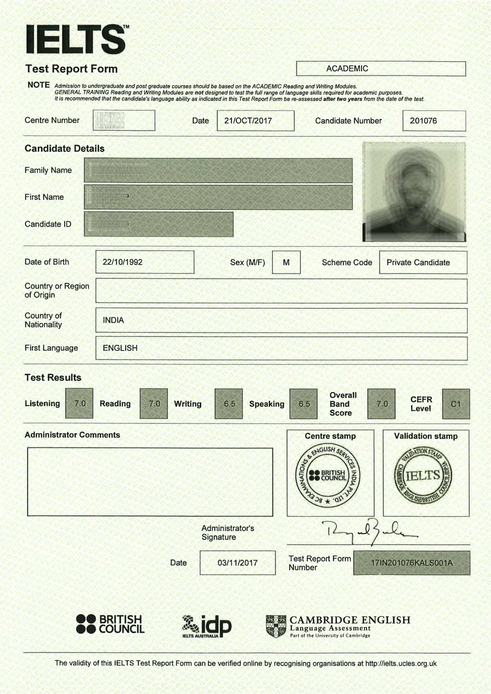 نگاهی دقیق به کارنامه آیلتس + بررسی یک کارنامه آیلتس واقعی