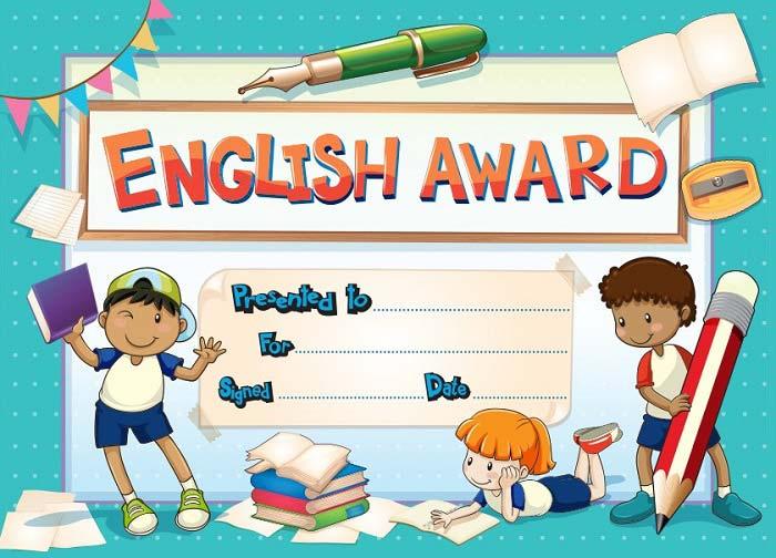 گواهینامه برای کلاس آموزش زبان انگلیسی به کودکان